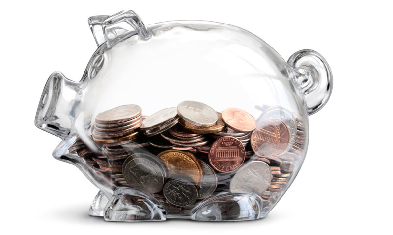 transparent piggy bank