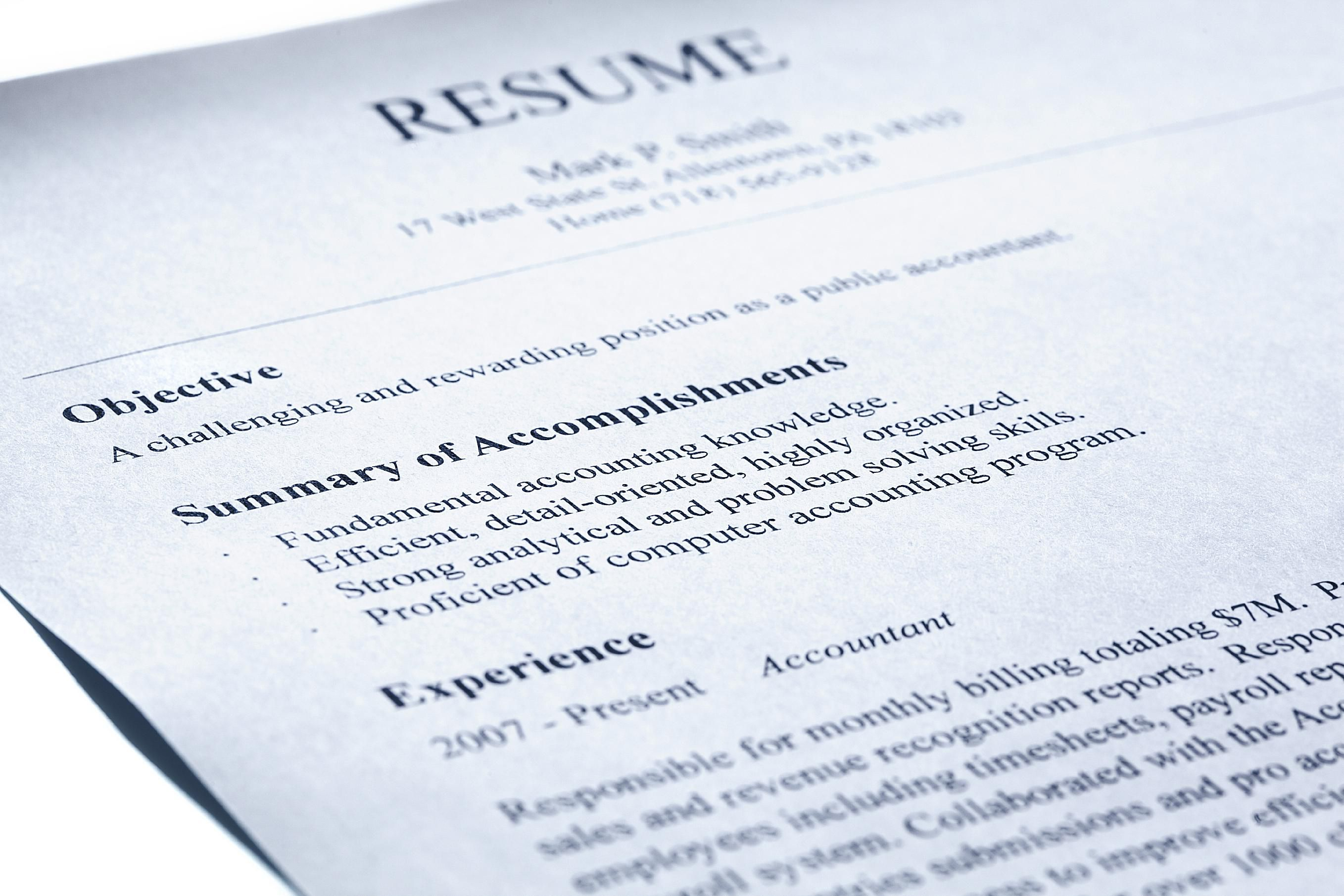 This is a picture of a resume for the Five Tips to Fix Your Resume blog post.