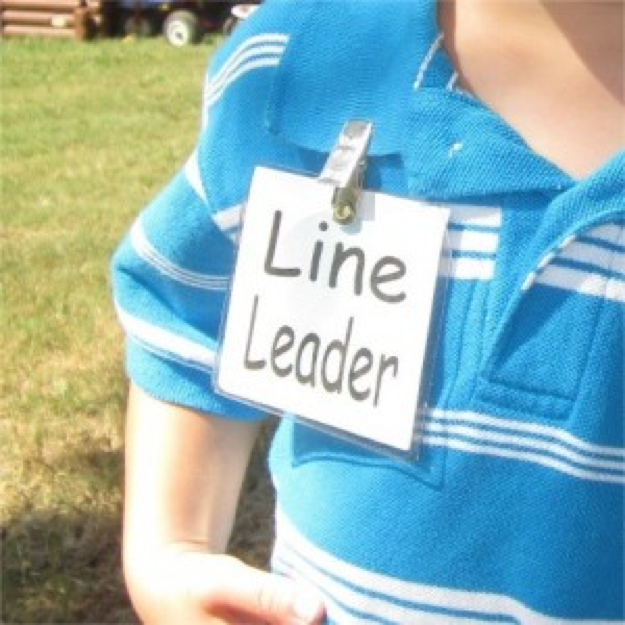 person wearing a tag that says Line Leader.