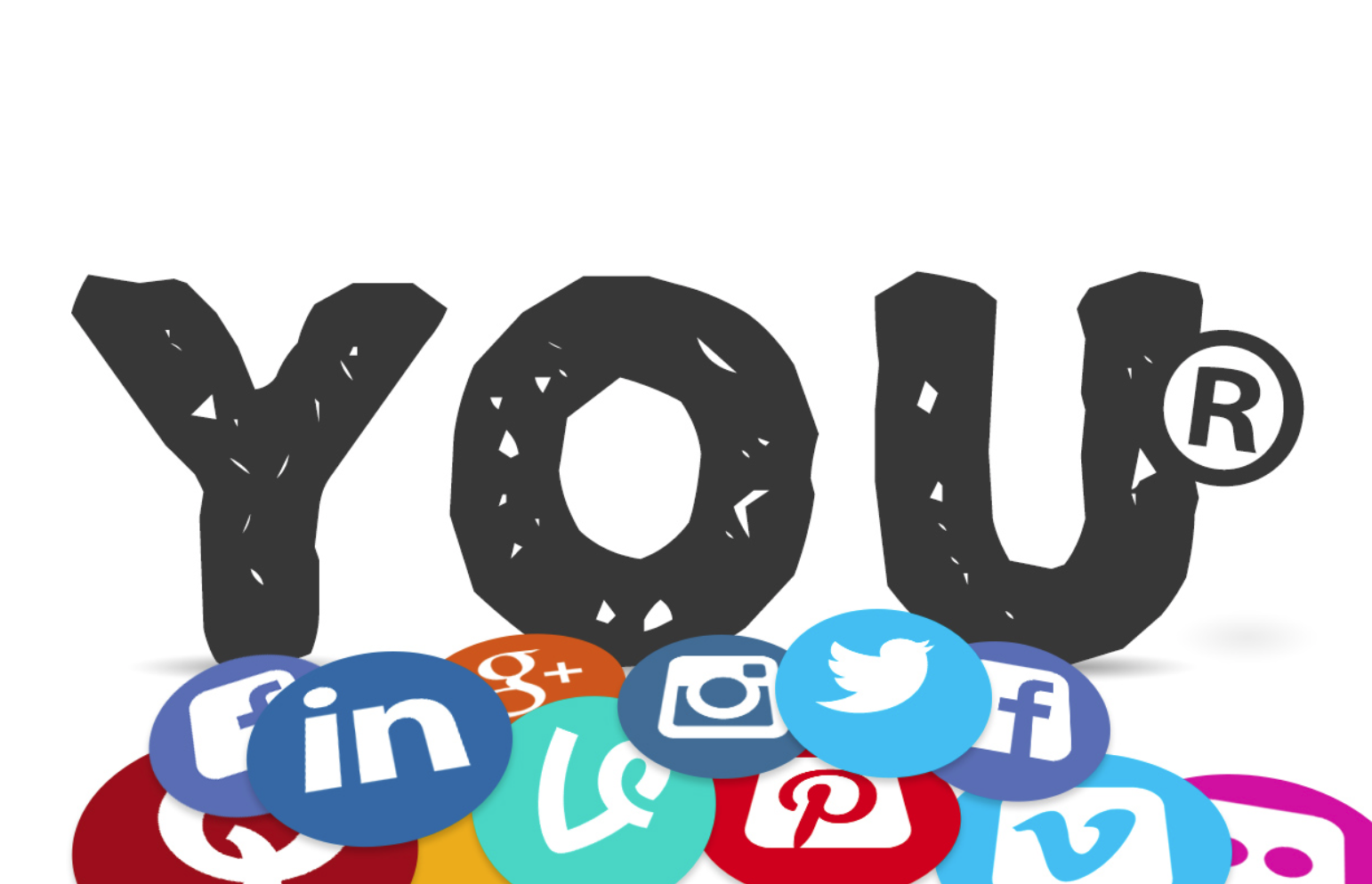 You image with registered trademark symbol surrounded by social media logos